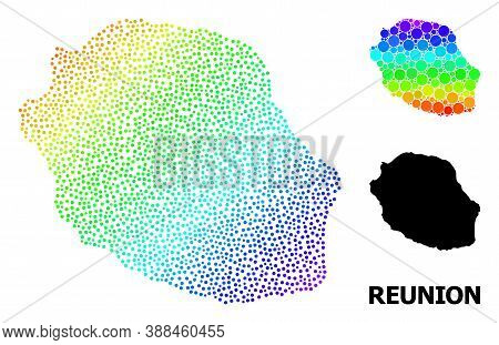 Dot Bright Spectral, And Monochrome Map Of Reunion Island, And Black Tag. Vector Structure Is Create