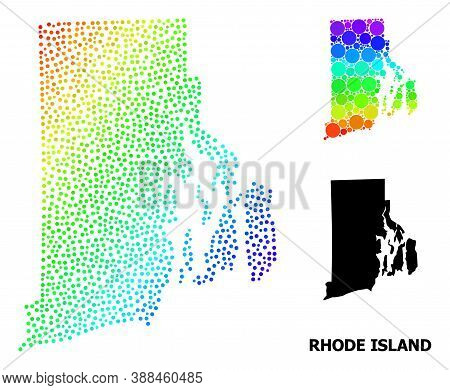 Pixelated Bright Spectral, And Monochrome Map Of Rhode Island State, And Black Tag. Vector Model Is