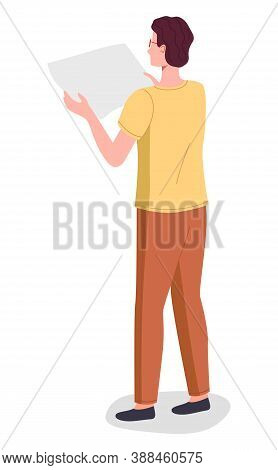 Young Man Working In Typography At Print To Printer. Concept Employee Character Holding A Sheet Of P