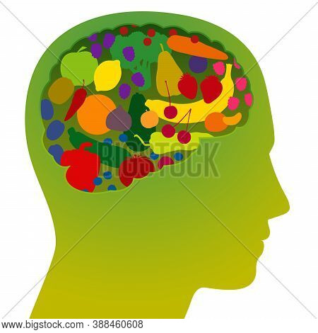 Brain With Colorful Fruits And Vegetables, As A Symbol For Healthy, Nutritious, Vitamin Rich Food Fo