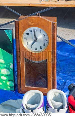 Wooden Wall Clock For Sale At Flea Market