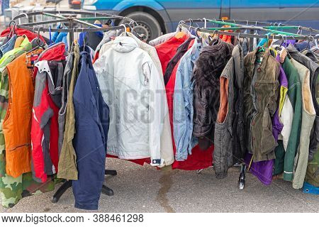 Second Hand Jackets And Vests At Flea Market Wardrobe Sale
