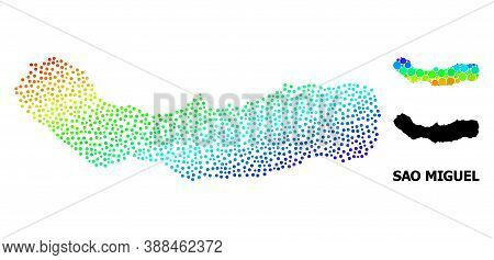 Dot Bright Spectral, And Solid Map Of Sao Miguel Island, And Black Name. Vector Model Is Created Fro
