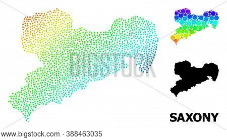 Dot Bright Spectral, And Solid Map Of Saxony State, And Black Name. Vector Structure Is Created From