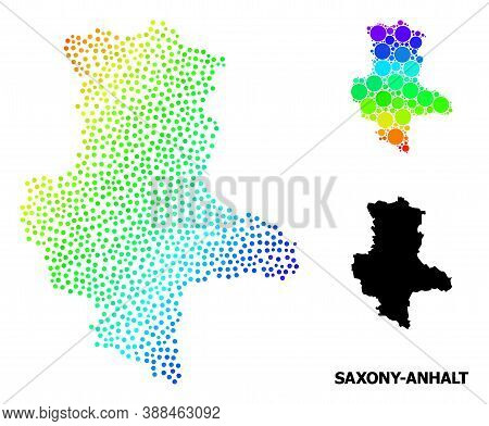 Pixel Spectral, And Solid Map Of Saxony-anhalt State, And Black Caption. Vector Model Is Created Fro