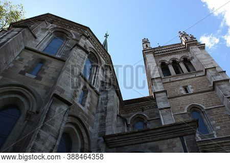 The St. Pierre Cathedral Is A Cathedral In Geneva, Switzerland, Today Belonging To The Reformed Prot