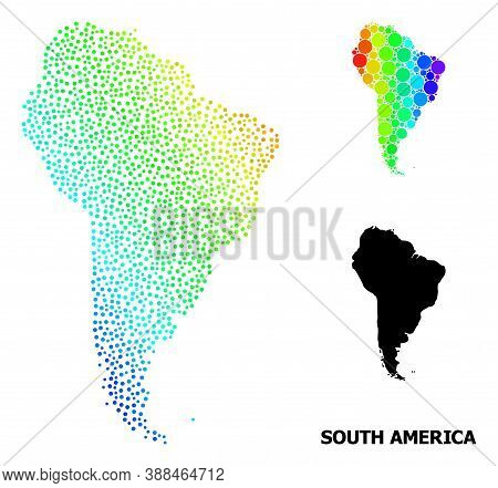 Dotted Spectrum, And Solid Map Of South America, And Black Text. Vector Structure Is Created From Ma