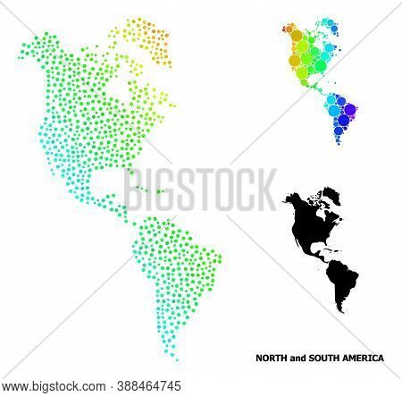 Dotted Rainbow Gradient, And Monochrome Map Of South And North America, And Black Caption. Vector Mo