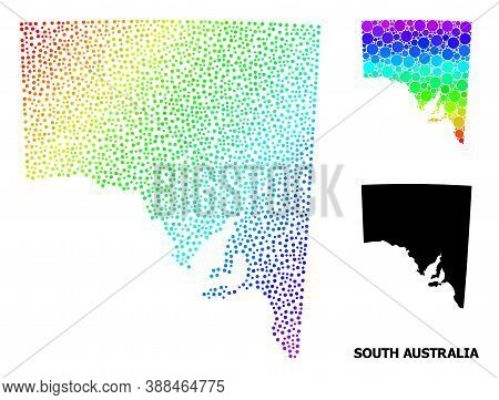 Dotted Spectral, And Monochrome Map Of South Australia, And Black Caption. Vector Model Is Created F