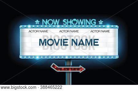 Light Sign Billboard Cinema Theater Vector Illustration