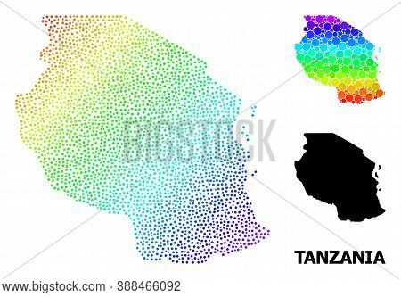 Dot Spectrum, And Monochrome Map Of Tanzania, And Black Name. Vector Model Is Created From Map Of Ta