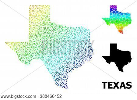 Pixel Spectral, And Monochrome Map Of Texas State, And Black Caption. Vector Structure Is Created Fr