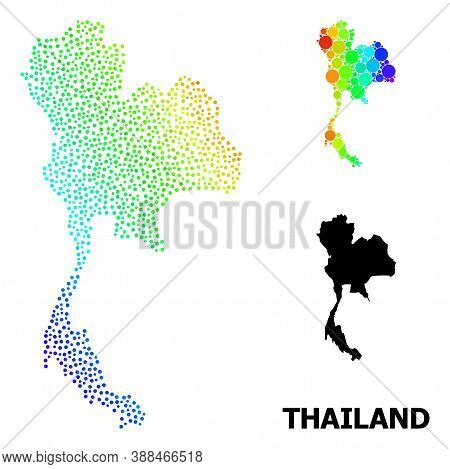 Dot Rainbow Gradient, And Solid Map Of Thailand, And Black Tag. Vector Structure Is Created From Map