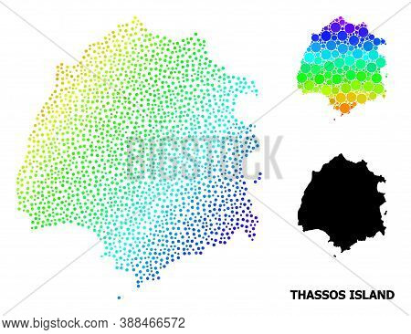 Pixel Rainbow Gradient, And Monochrome Map Of Thassos Island, And Black Name. Vector Model Is Create