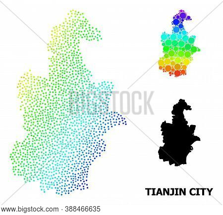 Dot Bright Spectral, And Solid Map Of Tianjin Municipality, And Black Text. Vector Model Is Created