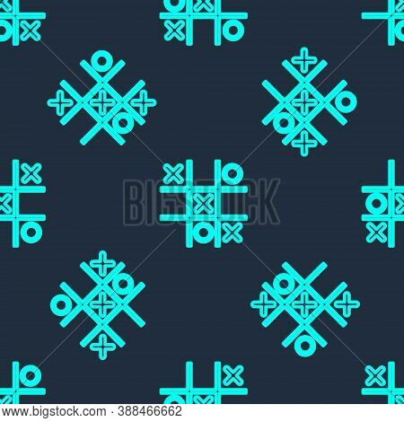 Green Line Tic Tac Toe Game Icon Isolated Seamless Pattern On Blue Background. Vector