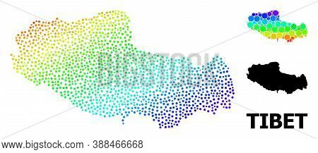 Dotted Spectrum, And Solid Map Of Tibet, And Black Name. Vector Structure Is Created From Map Of Tib