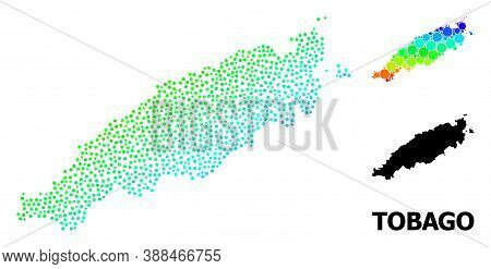 Dot Rainbow Gradient, And Monochrome Map Of Tobago Island, And Black Name. Vector Structure Is Creat