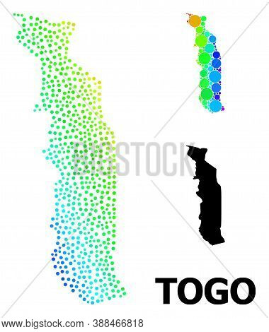 Pixelated Spectrum, And Solid Map Of Togo, And Black Tag. Vector Model Is Created From Map Of Togo W
