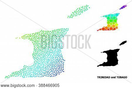 Pixel Rainbow Gradient, And Monochrome Map Of Trinidad And Tobago, And Black Text. Vector Model Is C