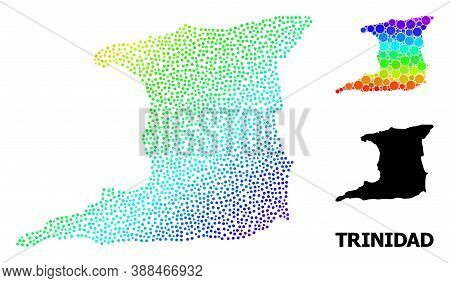 Pixel Rainbow Gradient, And Solid Map Of Trinidad Island, And Black Title. Vector Model Is Created F