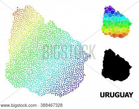Dot Spectrum, And Solid Map Of Uruguay, And Black Text. Vector Model Is Created From Map Of Uruguay