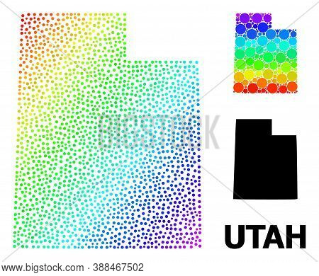 Pixel Spectrum, And Solid Map Of Utah State, And Black Tag. Vector Model Is Created From Map Of Utah