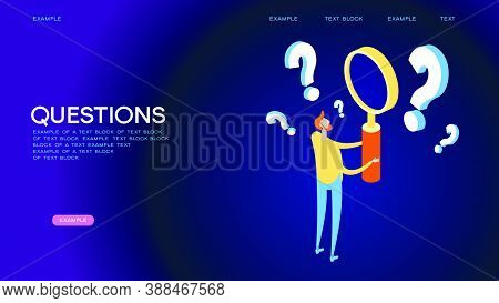 A Man Holds A Magnifying Glass And Looks Through The Questions. Frequently Asked Questions Concept.