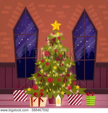 Christmas Holiday Vector Illustration With X-mas Fir Tree, Gifts, Windows, Garland,lights. Winter No
