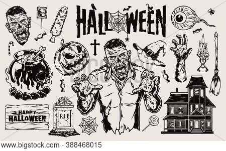 Trick Or Treat Elements Composition With Zombie Pumpkin Human Eyeball Witch Cauldron Hat Broom Aband
