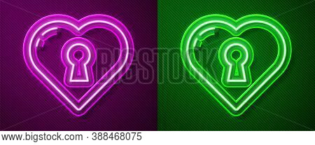 Glowing Neon Line Heart With Keyhole Icon Isolated On Purple And Green Background. Locked Heart. Lov
