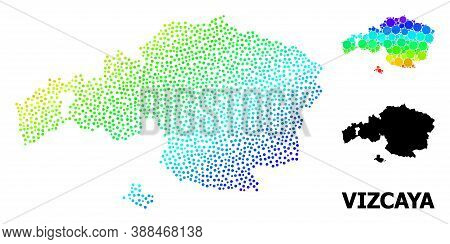 Dot Spectrum, And Monochrome Map Of Vizcaya Province, And Black Text. Vector Structure Is Created Fr