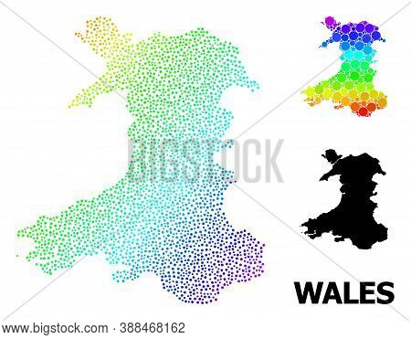 Dotted Spectral, And Monochrome Map Of Wales, And Black Name. Vector Structure Is Created From Map O