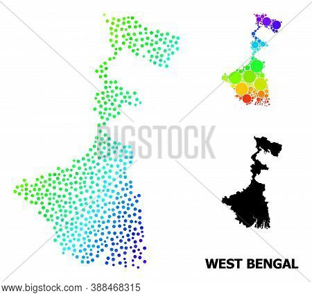 Pixel Bright Spectral, And Solid Map Of West Bengal State, And Black Name. Vector Model Is Created F