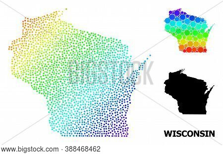 Pixelated Rainbow Gradient, And Solid Map Of Wisconsin State, And Black Caption. Vector Structure Is