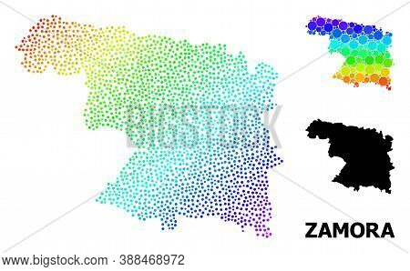 Pixelated Spectrum, And Monochrome Map Of Zamora Province, And Black Title. Vector Model Is Created