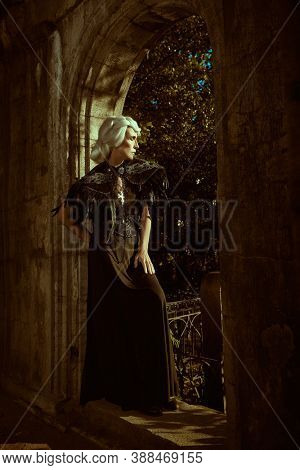 An aristocratic old widow woman with beautiful gray hair and a rich black dress stands sad in a crypt in a cemetery. Black Widow. Fantasy World. Halloween.