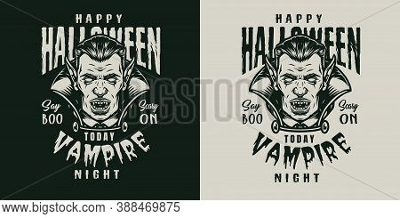 Halloween Monochrome Logo In Vintage Style With Scary Vampire Head Isolated Vector Illustration