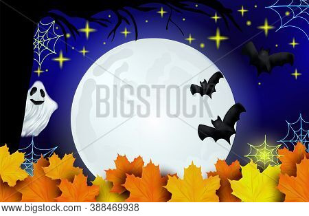Happy Halloween. Ghosts, Bats And Bright Moon On Dark Background. Character Halloween From Another W