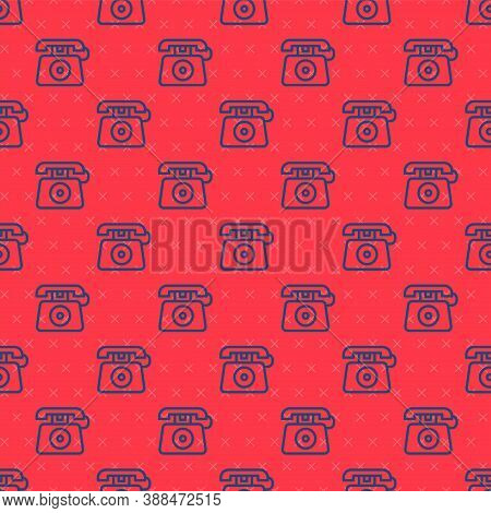 Blue Line Telephone With Emergency Call 911 Icon Isolated Seamless Pattern On Red Background. Police