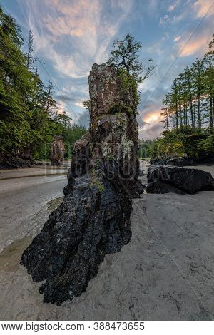 Beautiful Sea Stack At Cape Scott Provincial Park On Vancouver Island, British Columbia, Canada