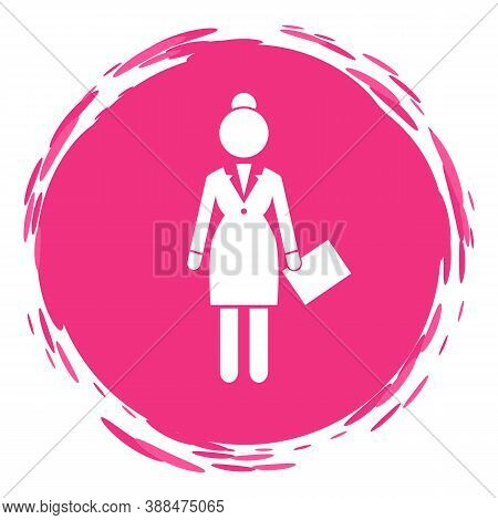 Vector Business Woman White Silhouette In A Round Pink Frame. Lady Dressed Formally Full Length. Bus