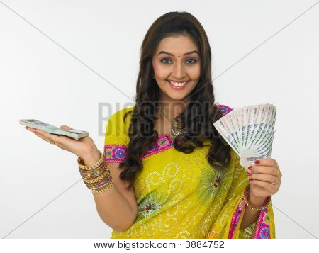 Asian Woman With Currency Notes