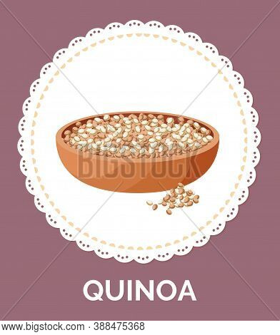 Quinoa Grains In A Plate. Vegan Protein Food Vector Illustration. Super Food High In Nutrients And V