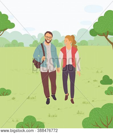 Happy Family, Couple Walking In A Park. Young Guy And Pretty Girl Holding Hands Walking In Garden, W