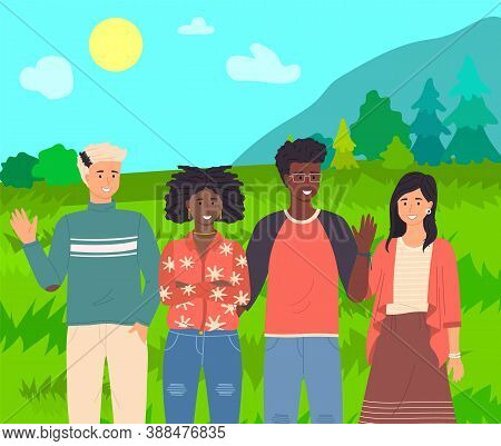 Group Of Fashion Cartoon Young People. Teenagers Boys And Girls Standing Together Outdoor Summer Tim