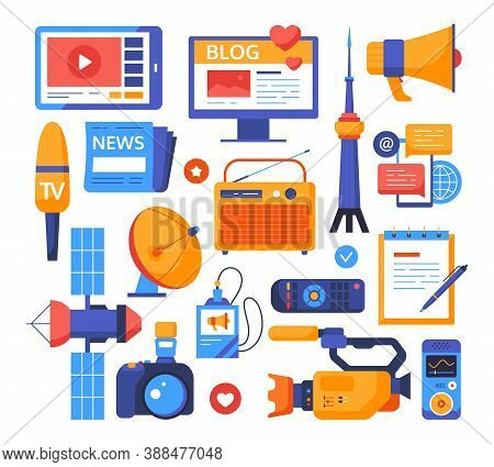 Mass Media - Set Of Flat Design Style Elements