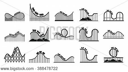 Roller Coaster Park Icons Set. Simple Set Of Roller Coaster Park Vector Icons For Web Design On Whit