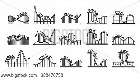 Roller Coaster Amusement Icons Set. Outline Set Of Roller Coaster Amusement Vector Icons For Web Des
