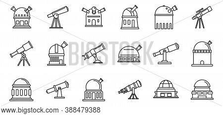 Planetarium Astronomy Icons Set. Outline Set Of Planetarium Astronomy Vector Icons For Web Design Is